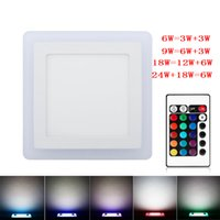 Discount led square panels rgb - Wholesale- Ultra Slim 6W 9W 18W 24W Dual Color RGB LED Panel Light Concealed Cool White Lamp Square Ceiling Light AC 100-265V