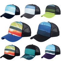 Wholesale Trucker Hats For Cheap - 8 Color Unisex Cheap Sublimated Printed stylish Baseball Caps Trucker Mesh Hat Adjustable Snap back Hat ball cap for sale