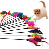 Wholesale Feather Perfect - Cat Stick Elastic Plastic Wand Long Sticks With Feather Bells Cat Toys Play Wand Pet Supplies Perfect For Training Multi Colors