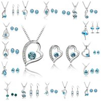 Wholesale Asian Jewellery Sets - Bridesmaid Jewelry Set Wedding Earrings Swarovski Silver Crystal Jewelry Long Necklace Gift Set Indian African Jewellery Party Jewelry Sets