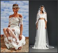 Wholesale Two Piece Wedding Dresses Prices - Off Shoulder Neck Lace Beach Wedding Dresses Elegant Design Short Sleeve Iullsion Sheer Skirt Cheap Price Two Pieces Dresses Custom