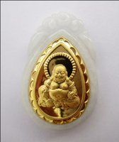 Pure 24k Yellow Gold 100% Natural Jade / Jadeite Laugh Buddha Pendant With Certificate Venda quente