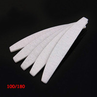 Wholesale Grey Nail Files - 100 pcs lot sands paper sanding good quality manicure professional 100 180 grey zebra half moon nail file for salon free shopping