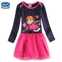 Wholesale Anna Nova - girls dress Nova kids clothing casual princess dress for girls children clothing appliques anna dots spring autumn girls clothes