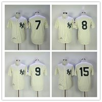 Wholesale Mantle Man - NEW YORK YANKEES 7 Mickey Mantle 8 Yogi Berra 9 ROGER MARIS 15 Thurman Munson Throwback 1951 Striped Mens Vintage Baseball Jerseys
