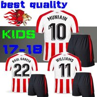 Wholesale Boys Athletic Shorts - new 2018 kids KITS Athletic Bilbao Socks 2017 Raul Garcia Williams MUNIAIN Jersey Home 18 shirt Aduriz children Football uniform