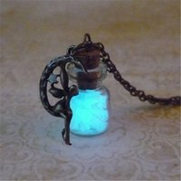 Wholesale Wholesale Fairy Charms - 12pcs lot Glow In The Dark Necklace Fairy charm Fantasy Glowing Jewerly Necklace
