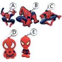 Wholesale Spider Man Movie Toys - 20pcs Movie The Avengers Toys Spider Xia Sided Key Ring Pendant 8CM Different Shapes Soft Spiderman Keychain Strap Free Shipping