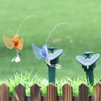 Wholesale Solar Fluttering Butterflies - Creative Solar Hummingbird Powered Dancing Flying Fluttering Butterflies Simulation Garden Craft Decoration For Multi Color 9ll C R