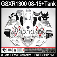 Wholesale Suzuki Hayabusa Blue - 8gifts For SUZUKI Hayabusa GSXR1300 2008 2009 2010 2011 14MY49 blue flames GSXR-1300 GSX R1300 GSXR 1300 2012 2013 2014 2015 white Fairing