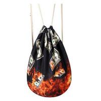 bolso de lazo marrón al por mayor-Mochila de tela para mujer Gypsy Bohemian Boho Chic Aztec Ibiza Tribal Étnico Ibiza Brown Mochila con cordón Bolsas J103