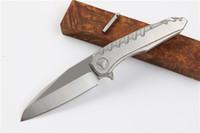 melhor canivete para presente venda por atacado-2017 Novo Design Flipper Dobrável Lâmina de faca D2 60HRC Satin Blade Punho de Aço EDC faca de Bolso Facas de Sobrevivência Melhor Presente