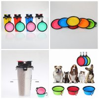 Wholesale Wholesale Cup Dispensers - 2 In 1 Pet Dog Cat out kettle portable pet cup folding bowl grain cup dual-purpose cup dog bowl dog basin water dispenser YYA259