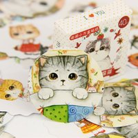 All'ingrosso - 120PCS / lot Kawaii mini grasso gatto adesivo carta di DIY decorazione diario scrapbooking sigillo di sigaretta ufficio cancelleria Supplie