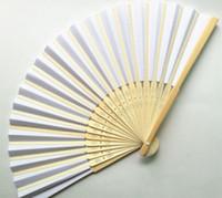 Wholesale Diy Paper Fan - Hot Blank folding paper fans children painting fan student creativity DIY hand calligraphy fan Graffiti fan