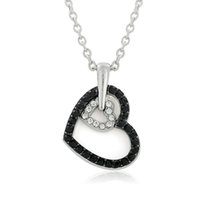 Wholesale Valentine Heart Designs - New Design Valentine Day's Gift Black And Clear Crystal Double Heart Pendant Necklace For Girlfriend Fashion Gift