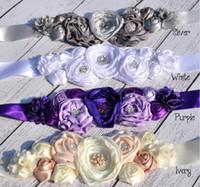 Wholesale Satin Poppy Flowers - Poppy Flower Sash Satin Flower Sash Baby Sash Belt Newborn Photography Props Headband Bridal Hair Accessories