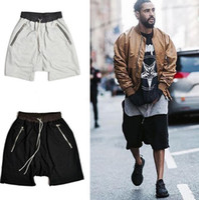 Wholesale Hang Loose - Kanye West US COOL Tide High Street Pants Male Hanging Crotch Harem Pants Knee Length Shorts HOT!