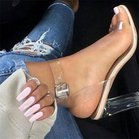 Wholesale Transparent Nude Women - Clear PVC Kim Kardashian Shoes 2017 Women Sandalias Ankle Strap Crystal Block High Heels Lucite Perspex Transparent Sandals Plus Size 35-43