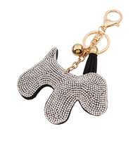 Wholesale Dog Sales Promotion - hot sale bag accessories charms key rings Fashion Candy color cute dog glittering rhinestone diamond crystal tassel leather keychain