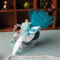 Wholesale silver swan favors resale online - Acrylic Silver Swan Sweet Love Wedding Gift Jewely Candy Favor Sweetbox Candy Package New Novelty Wedding Favors holders High Quality