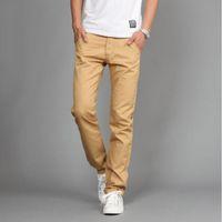 Wholesale Slim Straight Pants Men Wholesale - Wholesale- AIANXIN Hot sales Mew Design Casual Men pants Cotton Slim Pant Straight Trousers Fashion Business Solid Khaki Black Pants Men