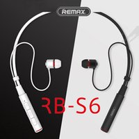 Wholesale Multi Usb Connection - Remax Sports Neckband Bluetooth Headset RB-S6 Wireless Stereo Earphone Bluetooth V4.1 Music Headphone HD Mic Multi Connections