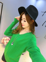 Wholesale Plus Size Batwing - 2017 autumn winter cashmere sweater women fashion sexy v-neck sweater loose 100% cashmere wool sweater batwing sleeve plus size pullover