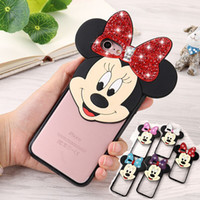 Wholesale Cute Iphone Covers Wholesale - 2017 Diamond Bling Mickey Minnie Mouse Ear Bear Case 3D Cute Cartoon Soft TPU PC Clear Back Cover for iPhone 7 Plus 6 6s Plus 5 5s se