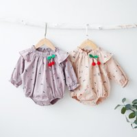 Wholesale Stars Baby Clothing - INS new arrival fall baby kids climbing romper long sleeve full cat star print o-neck girl kid romper + cherry accessary kid clothing romper