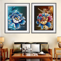 Wholesale Peony Flowers Pictures - Flower peony diamond painting cross stitch Needlework 5D diamond embroidery round resin diamond picture mosaic religious picture