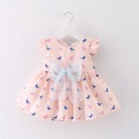 Wholesale big bird dress resale online - Summer Baby Kids Girls s Dress Big Bow Sundress Cotton Birds Cartton Printed Kids Girl s Dresses Bue Pink set Age T