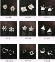 Wholesale Swan Silver Plated Charms - Fashion 925 Silver Hollow Out Love Clovers Swan Earrings Fawn Irregular Crown Flowers earring Stud Charms Jewelry