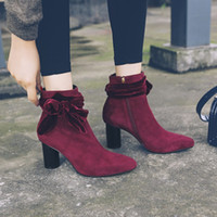 Wine Red Black Velvet Uppers Sqaure Toe 7 cm Bottines à talons hauts épais avec Big Bowknot 2017 Winter Nouveaux Design Mode Pompes Booties Shoe