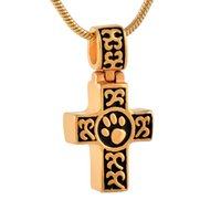 Wholesale 14k Solid Gold Snake Chain - Solid Gold Cross Necklace High Polish Pet Paw Stainless Steel Pet Cremation Ash Urn Pendant of Necklace