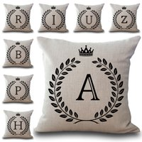 Wholesale Gold Initials - A-Z 26 English Letter Initials Pillow Case Cushion Cover Linen Cotton Throw Pillowcases Sofa Car Pillowcover PW652