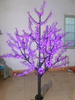 ingrosso viola luci albero luci-5ft 1.5 m altezza 110 / 220VAC viola LED Cherry Blossom Tree Light Rainproof Outdoor Wedding Garden Holiday Light Decor 672 LED