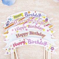 Wholesale Pennants Banner - Happy Birthday cake toppers flag party decoration banners pennant flag cupcake toppers flag picks acrylic wedding use cake topper