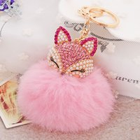 Wholesale Rabbit Charms - 12 Colors Rabbit Fur Ball Fluffy Round Ball with Bling Bling Lovely Fox Metal Keychain Keyring Car Keychains Purse Charms Handbag Pendant