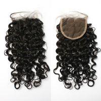 brezilya düğümleri kıvırcık toptan satış-Brezilyalı Saç Kıvırcık dantel kapatma orta bölüm / ücretsiz bölüm İnsan saç 4 * 4 dantel kapatma Ağartılmış Knots ile bebek saç