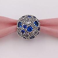 ingrosso clip per i braccialetti-Autentico 925 perle d'argento blu fascini di fascino stelle cosmiche adatto europeo pandora gioielli stile bracciali collana 791286NSBMX