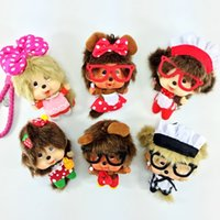 Wholesale Strap Bags For Men - Monchhchi Key Rings Keychain Couple Cartoon Adorable Plush Doll Rope Keychain Hanging Bag Decorate with Strap Present Gifts For Kids A5908