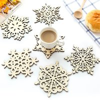Wholesale Coffee Cup Soup - Wooden Snowflake Coasters Coffee Cup Mats Soup Pads Carved Hollow Wood Placemat Table Mat Handmade Creative 12cm Wholesale