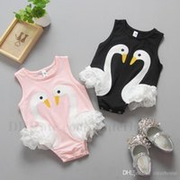 Wholesale Swan Rompers - Newborn Clothes INS Baby Rompers Girls Cotton Printed Lace Onesies Infant Sleeveless Jumpsuits Kids Summer Swan Printed Baby Clothing H522