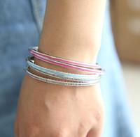 Wholesale Blue Enamel Flower - original 100% 925 Sterling-Silver-Jewelry Bangle Radiant Hearts with Pink\blue Enamel & CZ Bangle &bracelet fit LOGO charms Women jewelry