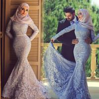 Wholesale Islamic Satin Caps - 2017 Fall Winter plus size Wedding Dress Arabic Muslim Islamic Stunning mermaid wedding dress High Quality Long Sleeves Lace Wedding Dress