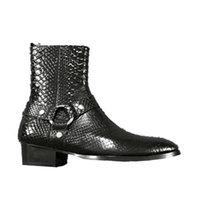 Wholesale Custom Wedge - High End 17 New custom crocodile pattern embossed genuine leather slp Martin boots denim personality fashion Chelsea men boots