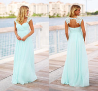 plaj gelinlik misafir toptan satış-Özel Yapılmış Nane Yeşil Uzun Gelinlik Modelleri İmparatorluğu Bel Aç Geri Dantel Şifon Artı Boyutu Plaj Düğün Konuk Örgün Törenlerinde Parti Elbise