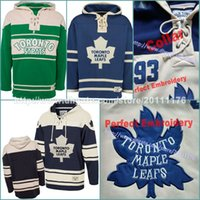Wholesale Winter Shirts Men - S-3XL Men's Old Time Hockey Toronto Maple Leafs Blank Custom Jersey Hoodie Authentic Hoodies Jerseys Winter Sweatshirts Blue Cream Shirt