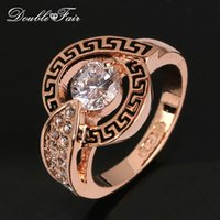 Wholesale Gold Stone Ring For Men - Vintage Wedding Finger Ring Wholesale CZ Diamond 18K Gold Plated Crystal Engagement Jewelry For men and Women DFR308   DFR217